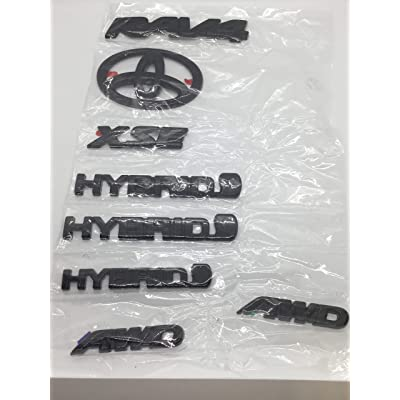 Genuine Toyota RAV4 Hybrid XSE Gloss Black (Blackout) Emblem Overlay Kit PT948-4219B-02: Automotive