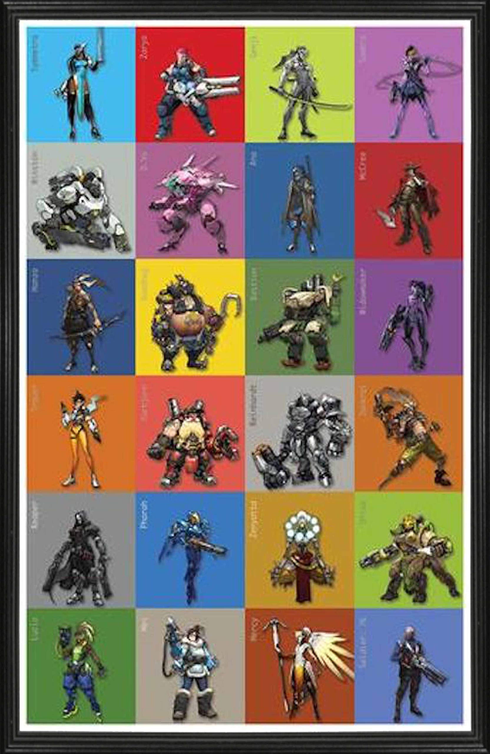 Overwatch: Chart of Characters. Large 24''×36'' Size. The Perfect Poster Gift (Framed Poster)
