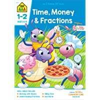 School Zone - Time, Money & Fractions Workbook - 64 Pages, Ages 6 to 8, 1st Grade, 2nd Grade, Math, Equal Parts, Adding…