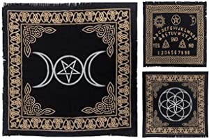 Set of 3 Altar Tarot Cloth 100% Cotton Triple Moon Goddess with Pentagram Ouija Board Seed of Life Pentagram Wiccan Pentacle Pagan Yule Black Gold Silver