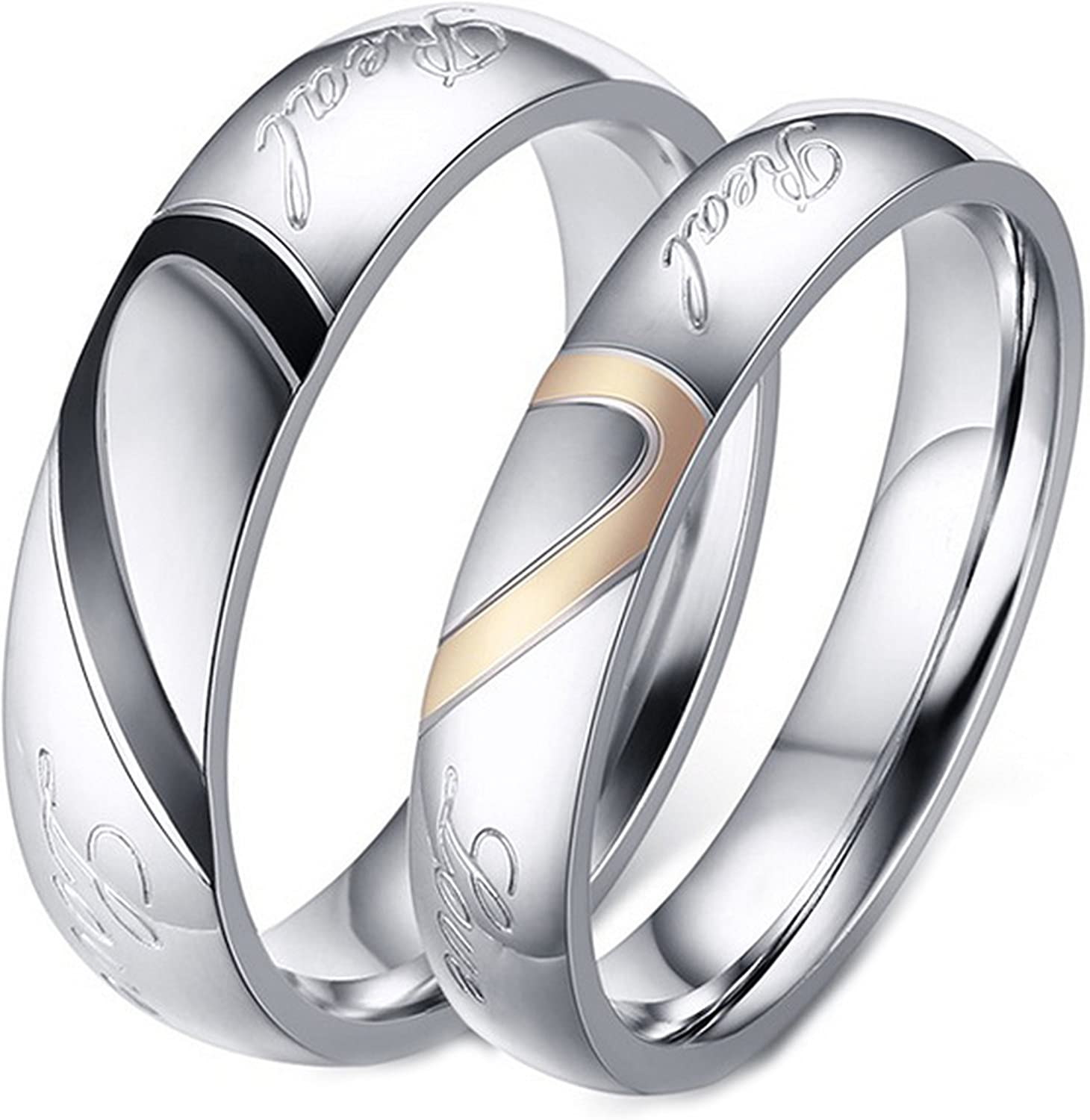 LineAve His Hers Couple Real Love Matching Heart Ring Mens Womens Wedding Band Stainless Steel