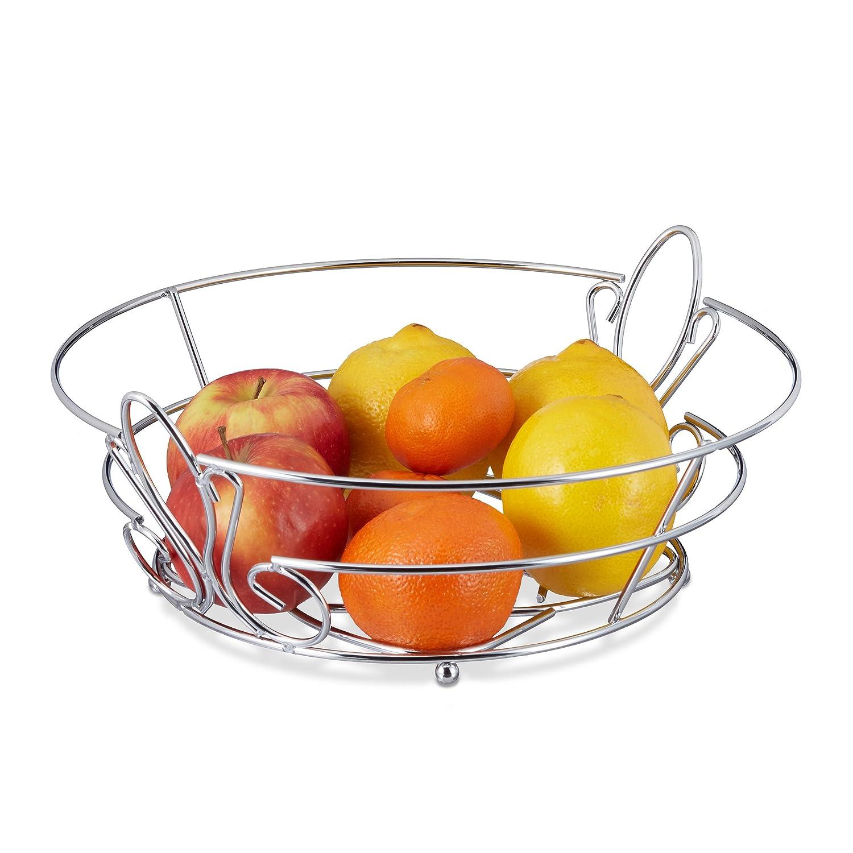 Relaxdays 10020450 Porta-frutta Grande Fruttiera Cromato Cestino Porta-pane da Tavolo HLP: 11, 5 x 32 x 30 cm Metallo Argento.