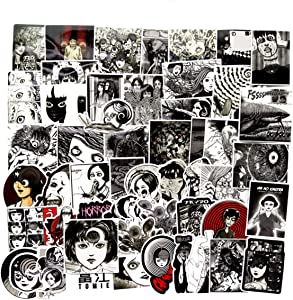56PCS Tomie Comic Print Black and White Thriller Horror Style Toy Sticker for Water Bottle Skateboard Luggage Trolley Laptop Doodle Cool Sticker