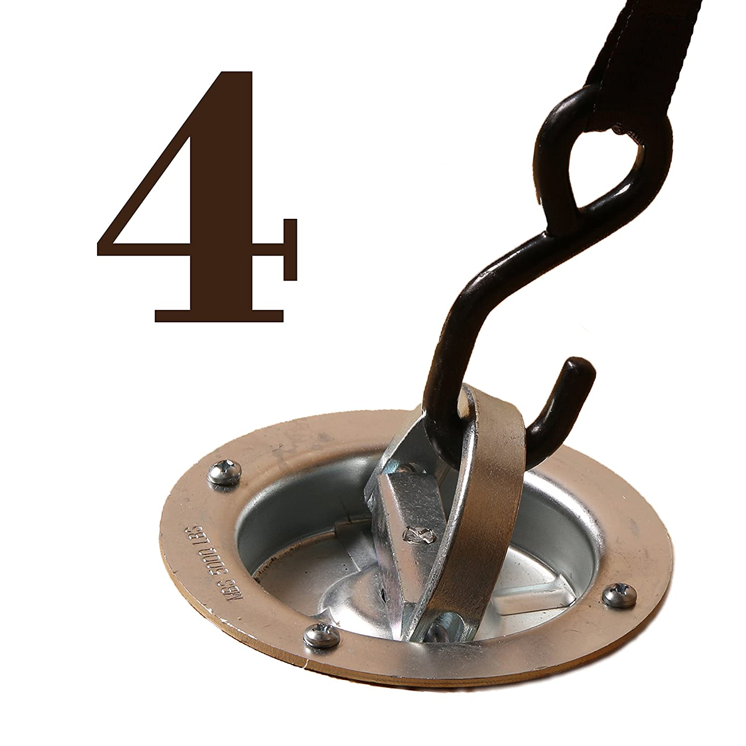 Swivels 360 Degrees Trailers Extra Large Rotating Recessed Pan Fitting with D-Ring WLL 1,666 Pounds Flatbeds Round Tiedown D-Ring to Secure Cargo in Semis 4 Heavy Duty D-Ring Tie-Down Anchor