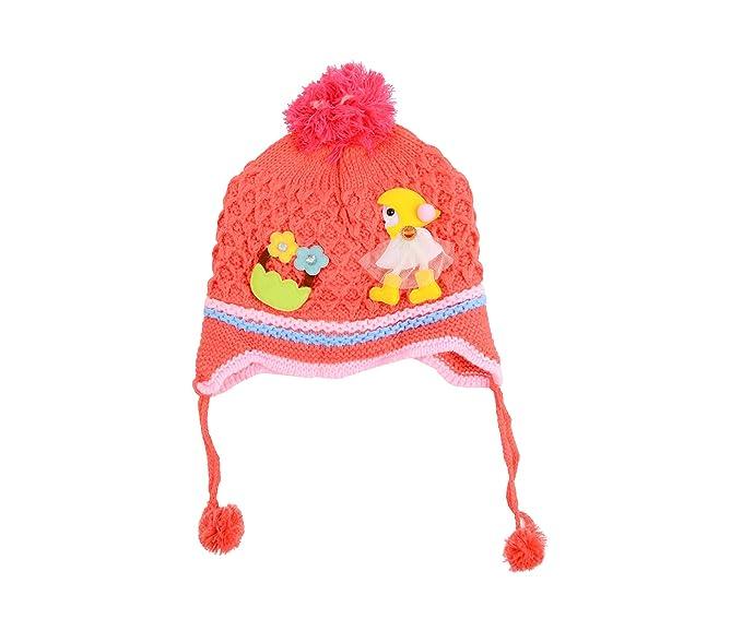 1df03f69b50 Baby Grow Kids Girl Patch Winter Cap (Peach)  Amazon.in  Clothing ...
