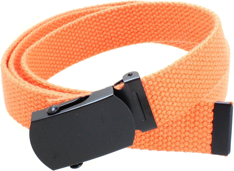 Kids Canvas Web Belt Flat Black Buckle//Tip Solid Color 44 Long 1 Wide
