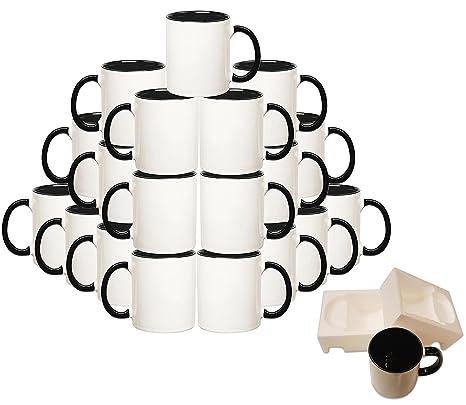 Mug 36-Piece Double Sublimation Coated Ceramic Mugs, 11 Oz, Blank All White  and Black with Black Handle-Case of 36-Black