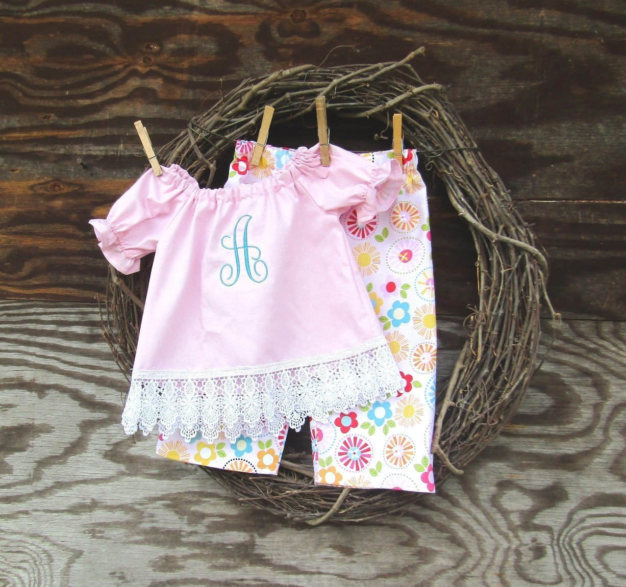 Baby Girls Pink Outfit, Monogrammed, Lace Trimmed by SouthernSisters2
