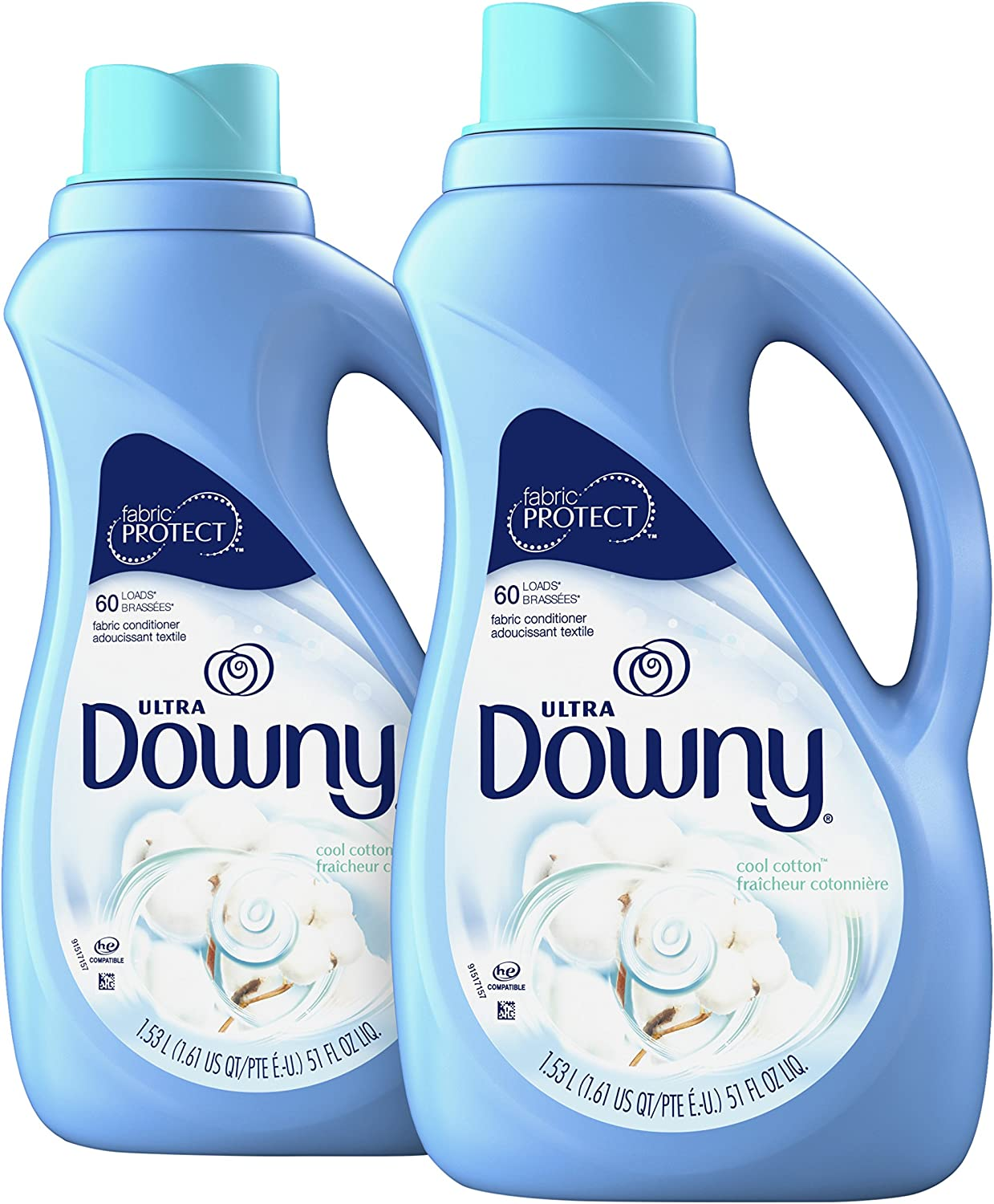 Downy Ultra Cool Cotton Liquid Fabric Conditioner (Fabric Softener) 51 Fl Oz (Pack of 2): Health & Personal Care