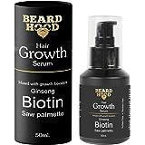 Beardhood Beard and Hair Growth Serum - Biotin, Ginseng & Saw Palmetto, 50ml