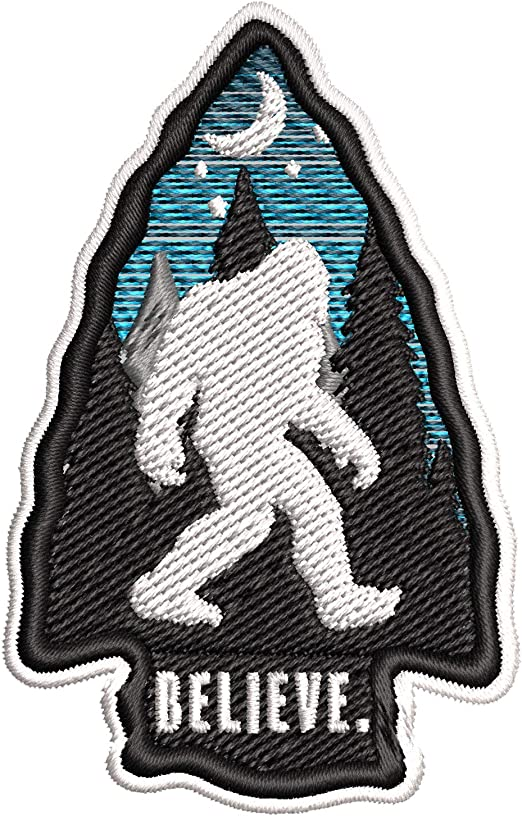 I Believe Bigfoot Embroidered Patch 3.75\u201d x 3.5\u201d Sew or Iron On