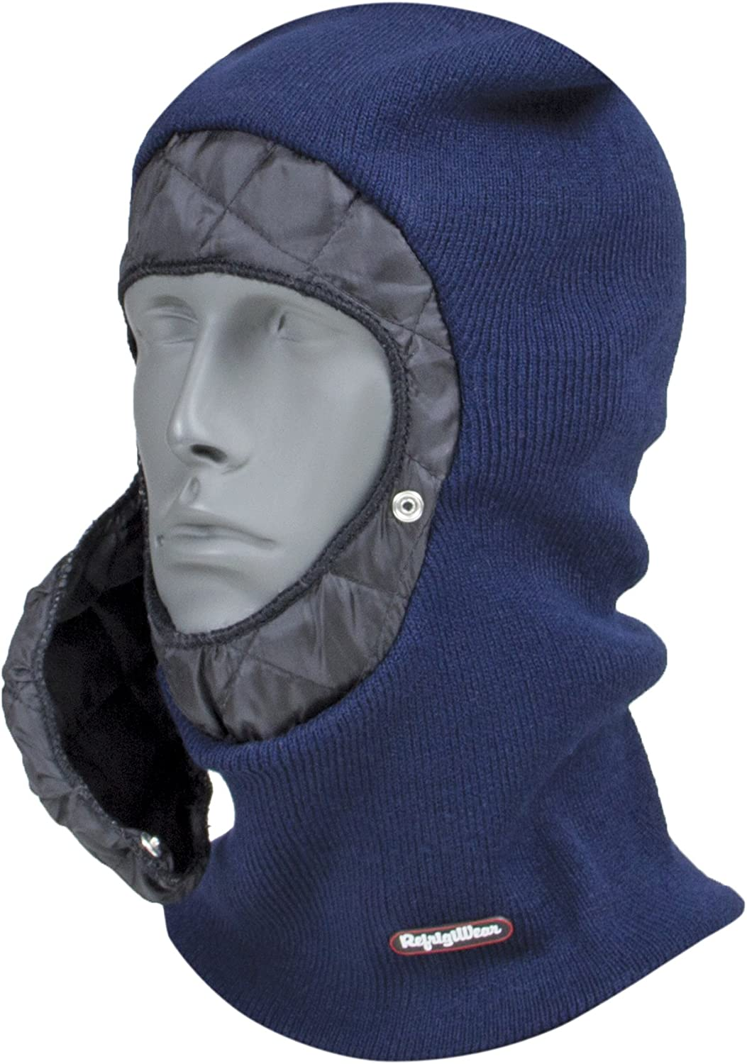 RefrigiWear Stretch Thermal Knit Balaclava Face Mask with Detachable Quilted Mouthpiece (Navy Blue, One Size Fits All)