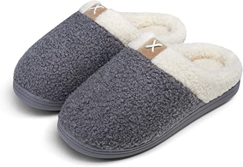 Women's Cozy Slippers Memory Foam Faux Fur Lined Closed Toe Slides Fuzzy Soft House Bedroom Shoes Slip On Indoor Outdoor Non-Slip Rubber Sole