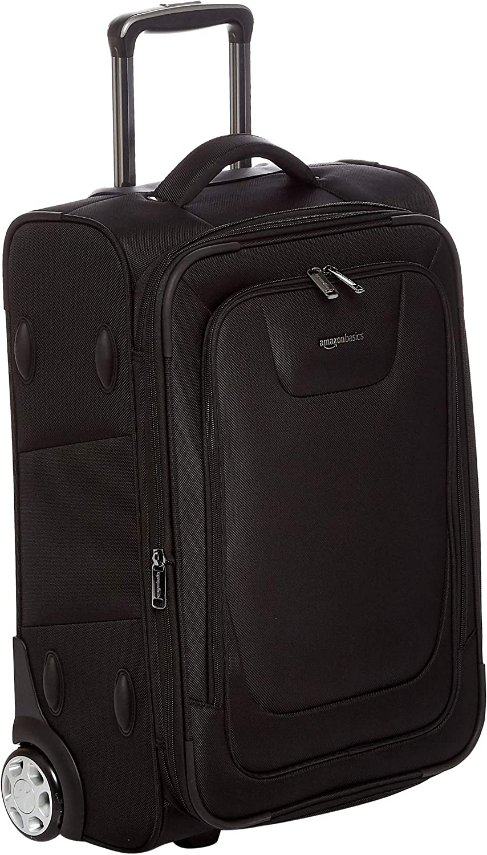 Unitravel Expandable Business Suitcase Softside Carry on Spinner Luggage with TSA Lock 20 inch Black