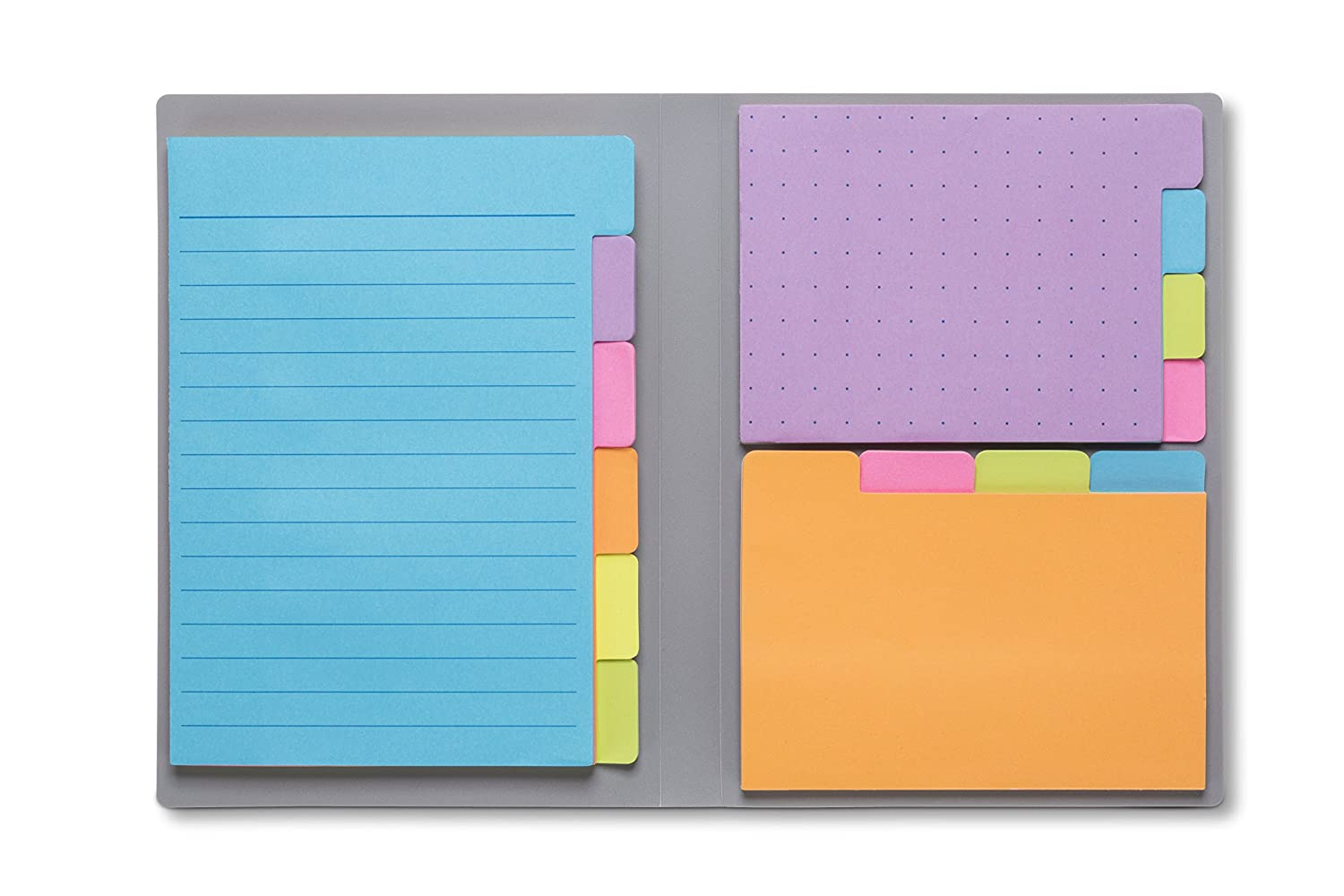 Sticky Notes by Panda Planner - Bookmark, Prioritize and Set Goals with Color Coding - 60 Ruled Lined Notes (4x6), 40 Dotted Notes (3x4), 40 Blank Notes (2.7x4.2) - 140 Total Tab Divider Notes