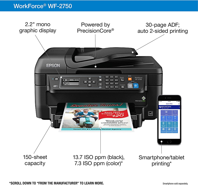 Amazon.com: Epson WorkForce WF-2750, impresora a color ...
