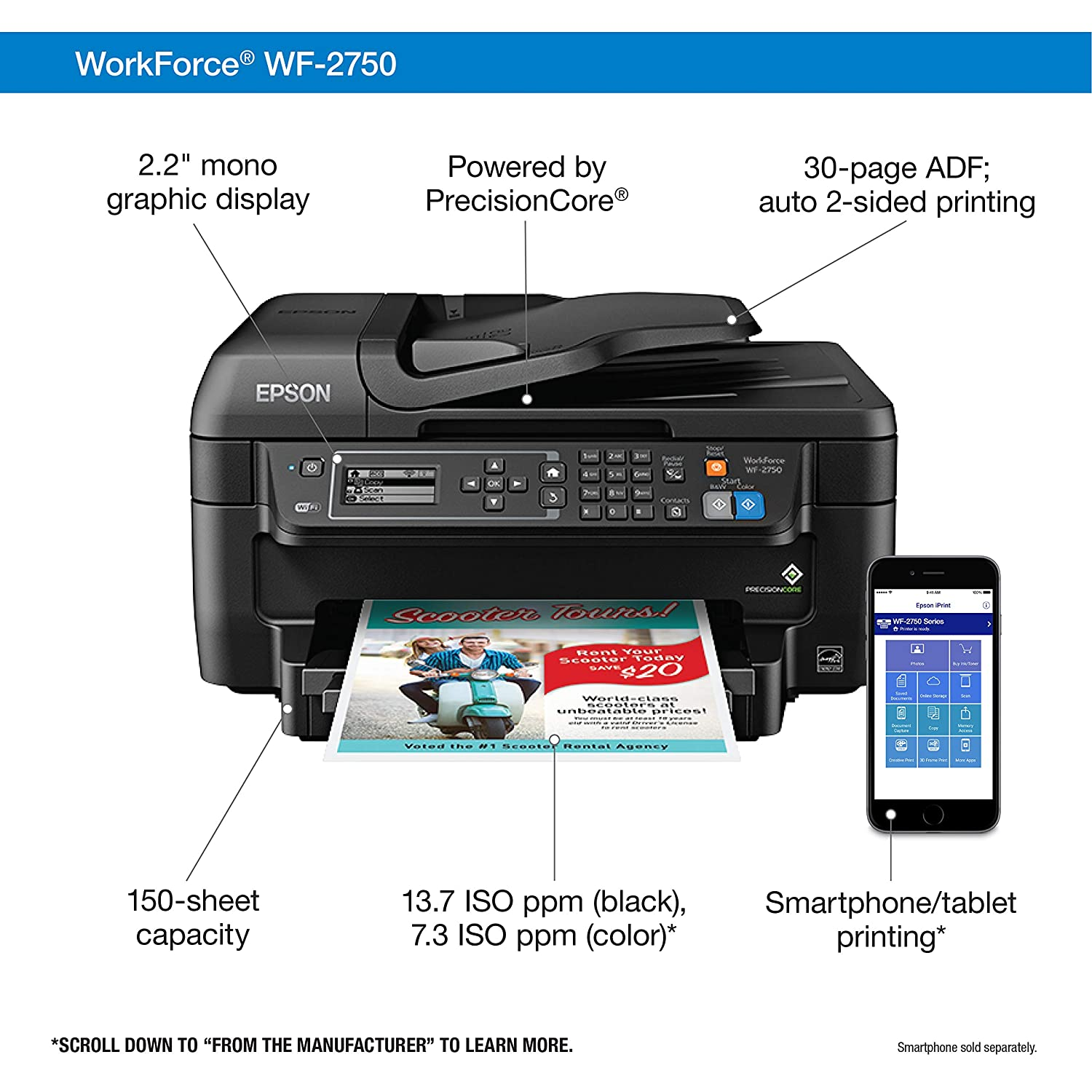 Amazon.com: Epson WF-2750 All-in-One Wireless Color Printer with Scanner,  Copier & Fax, Amazon Dash Replenishment Enabled: Electronics