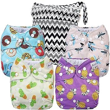 impermeables para beb/és de 0 a 3 a/ños Color mixto 5 Talla:80 lavables y reutilizables BAODANH Pa/ñales de tela para beb/é