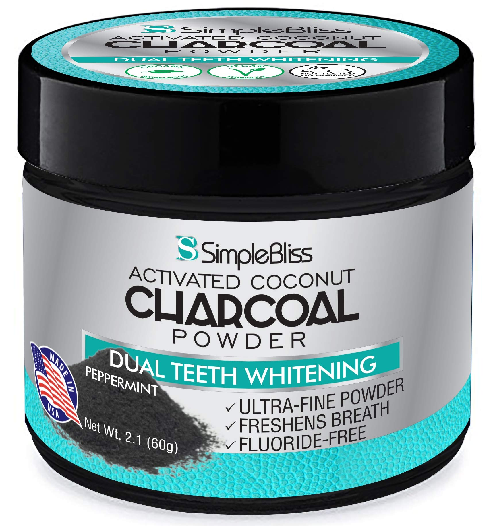 Teeth Whitening Activated Charcoal Powder Toothpaste 60g - All Natural, Non Abrasive, Safe & Effective Organic Coconut Tooth Whitener - Removes Stains, Fluoride Free, Made in USA - Peppermint