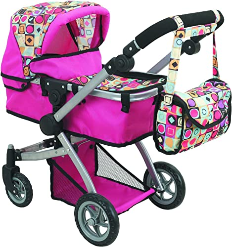 Doll Strollers Pro Deluxe Doll Stroller in pink with quilted fabric