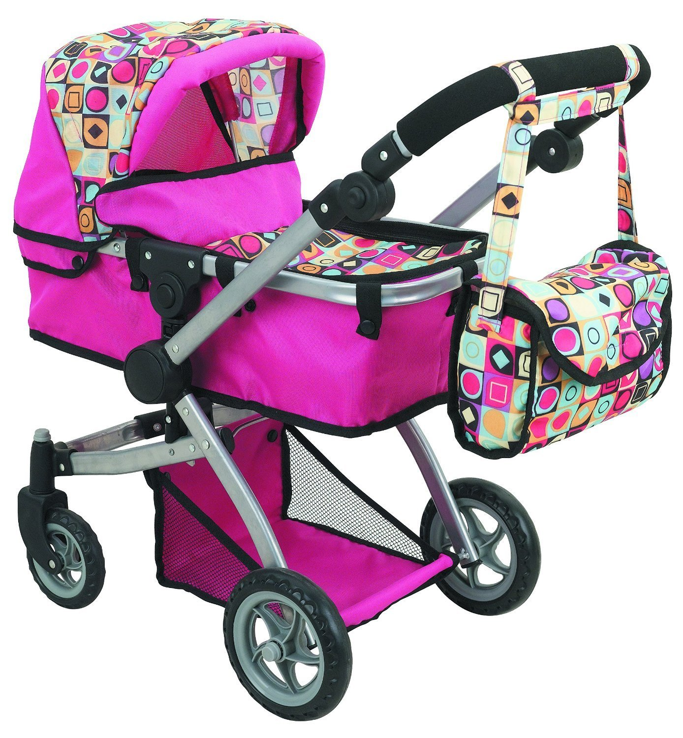 Amazon Doll Strollers Pro Deluxe Doll Stroller with Swiveling Wheels Adjustable Handle and Carriage Bag Toys & Games