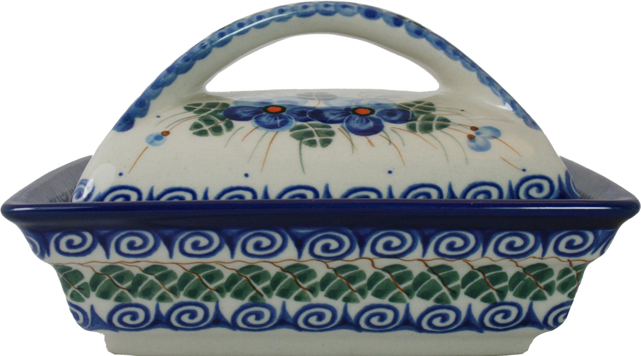 Polish Pottery Ceramika Boleslawiec, 0352/162, Butter Dish Deep, 2 Cubes, Royal Blue Patterns with Blue Pansy Flower Motif by Polish Pottery Ceramika Boleslawiec (Image #3)