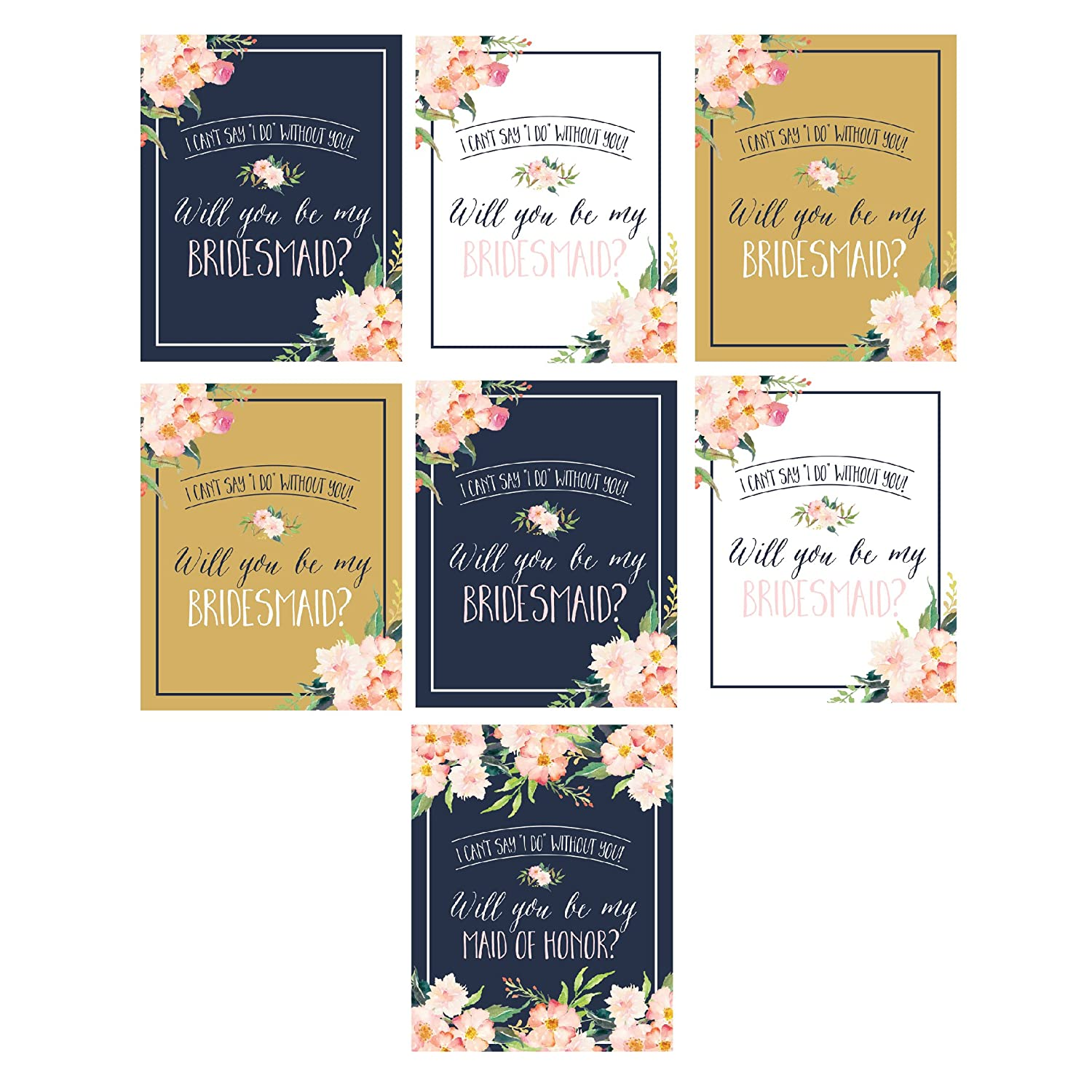 Will You Be My Bridesmaid Stickers or Wine Bottle Labels Bridal Party Maid of Honor Proposal Ideas, Ask Your Bridesmaids To Be In Wedding Gifts, Gold White & Navy I Can't Say I Do Without You Hadley Designs SYNCHKG109338