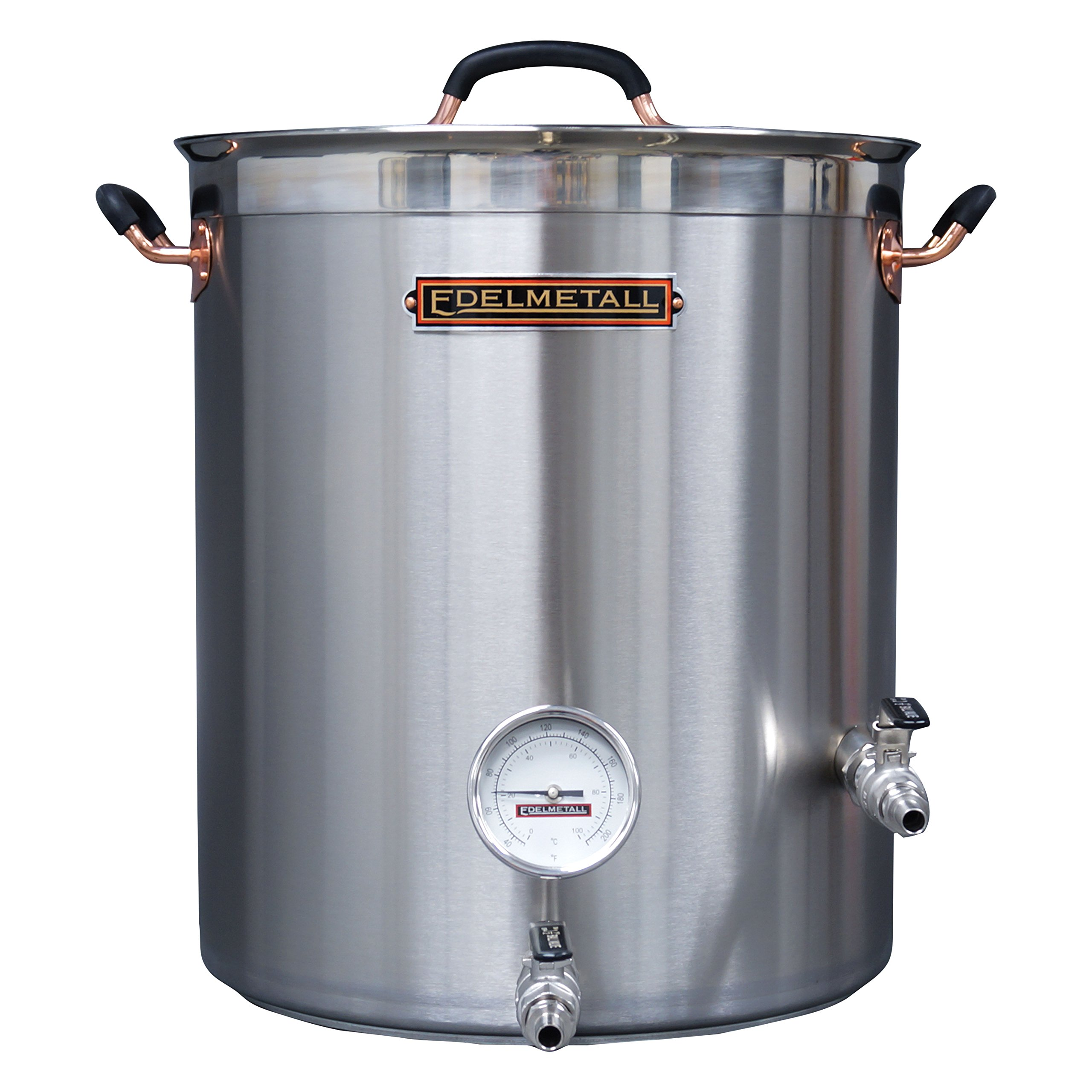 Northern Brewer - Edelmetall Bru Kettle Professional Quality Brew Kettle for Homebrewing with Valve Bulkhead, Whirlpool Port & Thermometer (20 Gallon)