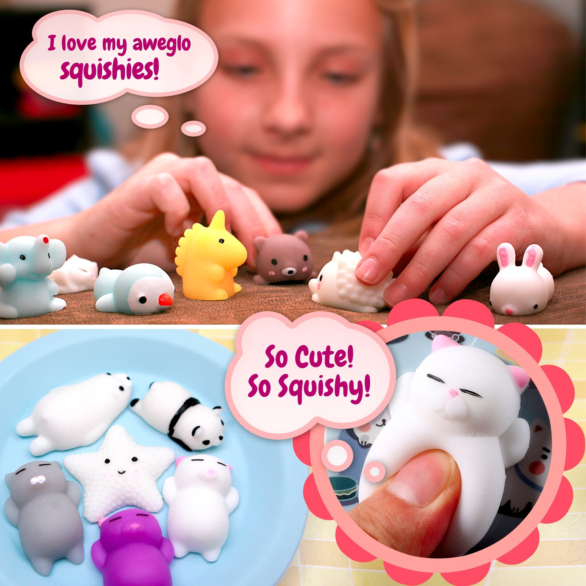 20 Mochi Squishy Toys, FREE CASE, 16 Animals 11 Colors, PARTY FAVORS AWEGLO Prime Silicone Small Mini Squishies Toy Boys Soft Kawaii Squishys Pack Kids Fidget Cat Stress Reliever No Slow Rise Sqishy's by AWEGLO Squishies (Image #4)