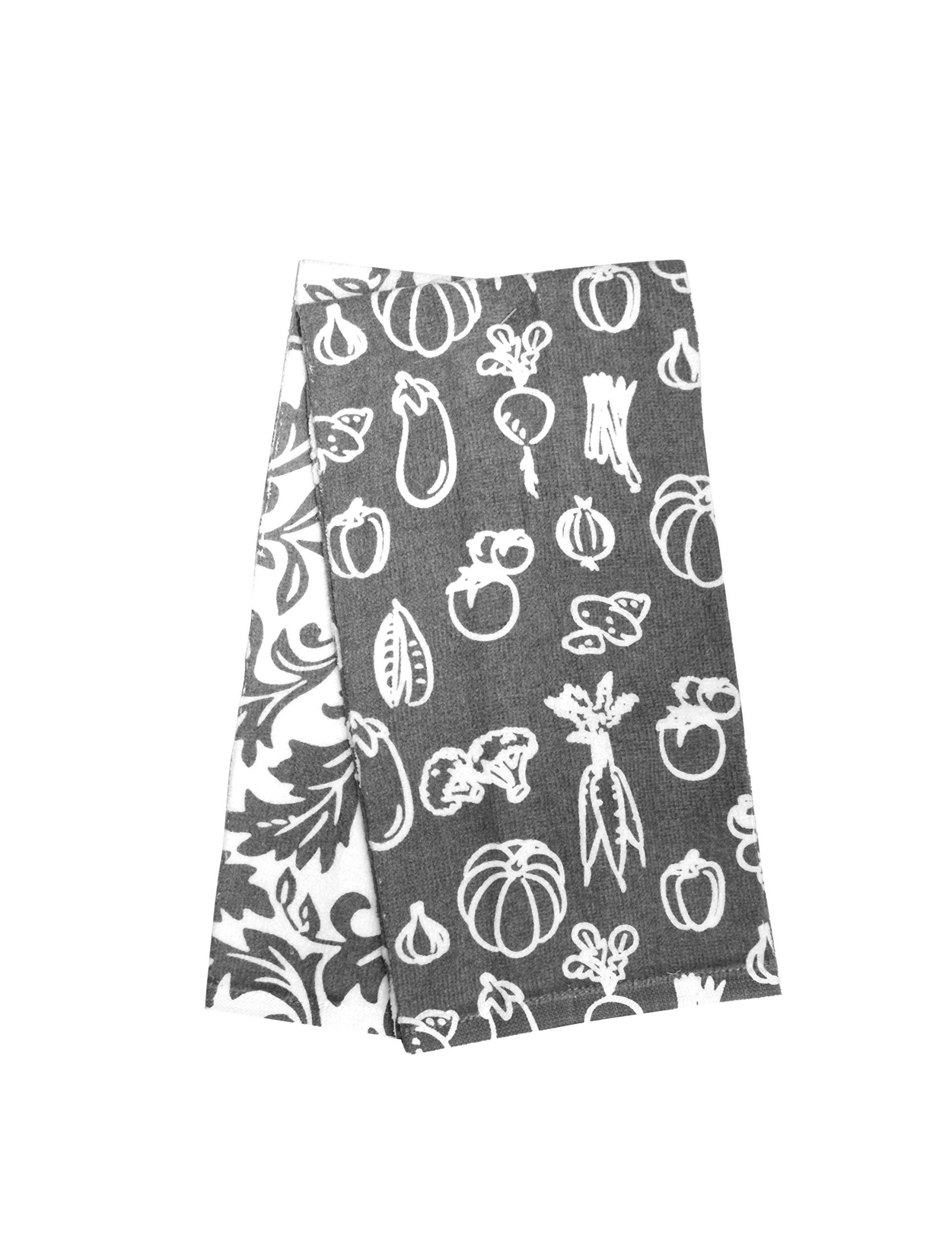 Hotel Veggies Kitchen Towel (2 Pack), Grey