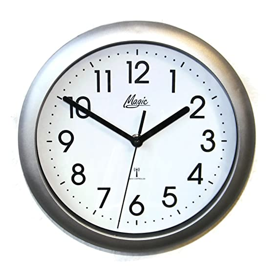 Magic Radio Reloj de pared Reloj de cocina control por radio 25 cm plata - 4490 - 19 M: Amazon.es: Relojes