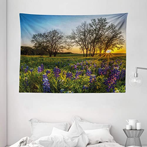 Ambesonne Nature Tapestry, Country Scenery with Lavender Meadow at Sunset Spring Beauty Foliage Eco Picture, Wide Wall Hanging for Bedroom Living Room Dorm, 80 X 60 , Lavender Green