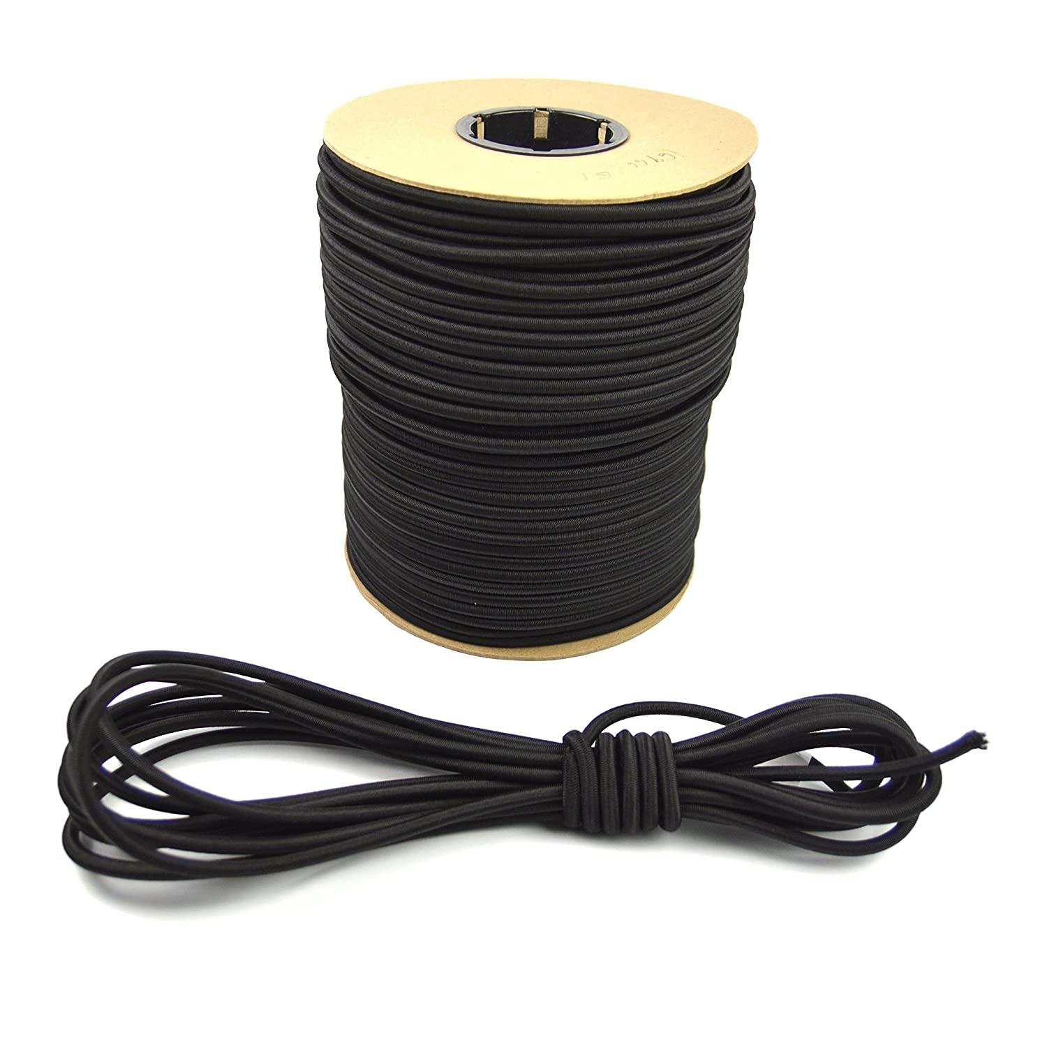 50 Feet Tie Down Trailer Strap 15-100ft Feet Variations Crafting Stretch String Marine Masters 5//16 Black Bungee // Shock Cord