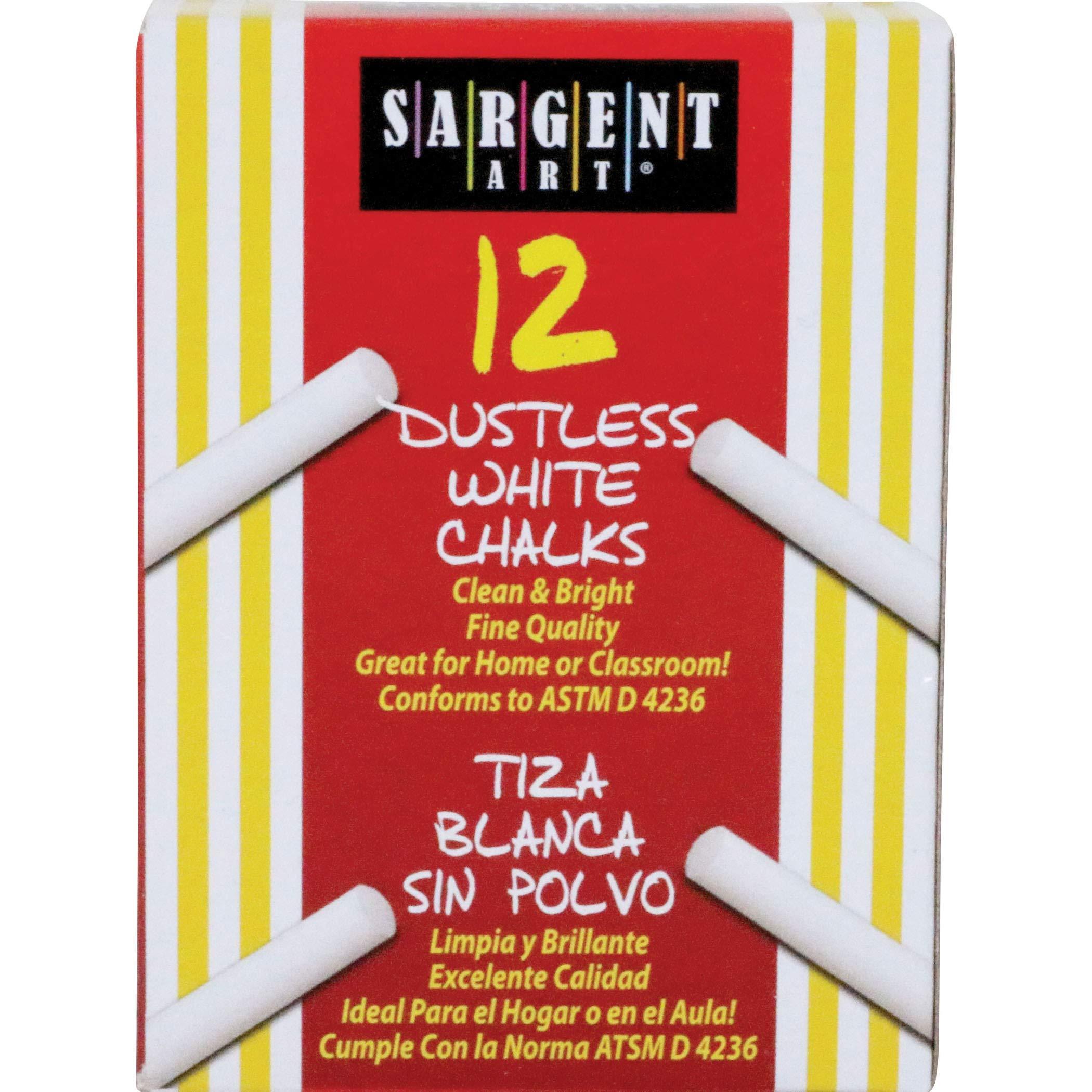 Sargent Art SAR662012BN Dustless School Chalk, White, 12 Sticks Per Box, 36 Boxes