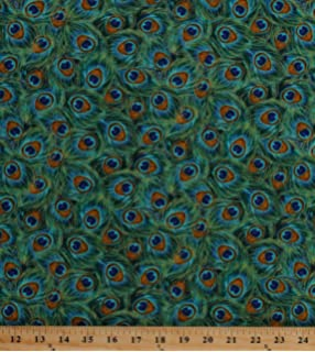 Amazon Com Ambesonne Peacock Decor Fabric By The Yard Graphic