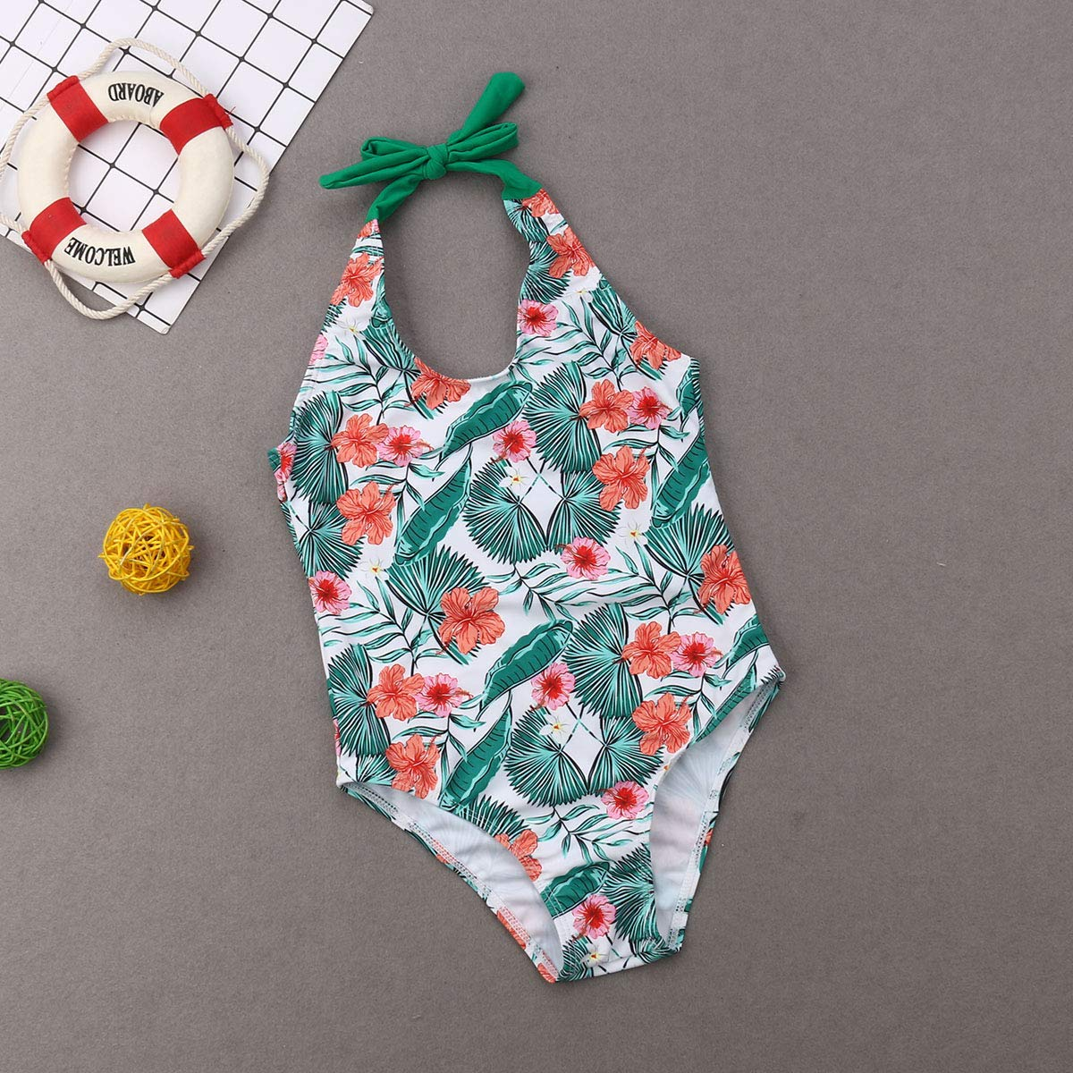 Family Matching Swimsuit Mother Father Kids One Piece Print Monokini Swimwear Beachsuit Bathing Suit