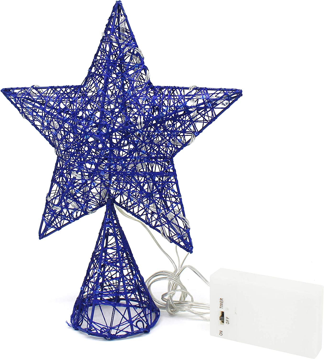 Cvhomedeco Blue Tree Top Star With Warm White Led Lights And Timer For Christmas Ornaments And Holiday Seasonal Décor 8 X 10 Inch Home Kitchen