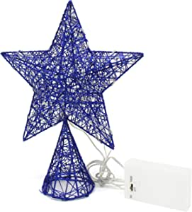 CVHOMEDECO. Blue Tree Top Star with Warm White LED Lights and Timer for Christmas Ornaments and Holiday Seasonal Décor, 8-Inch