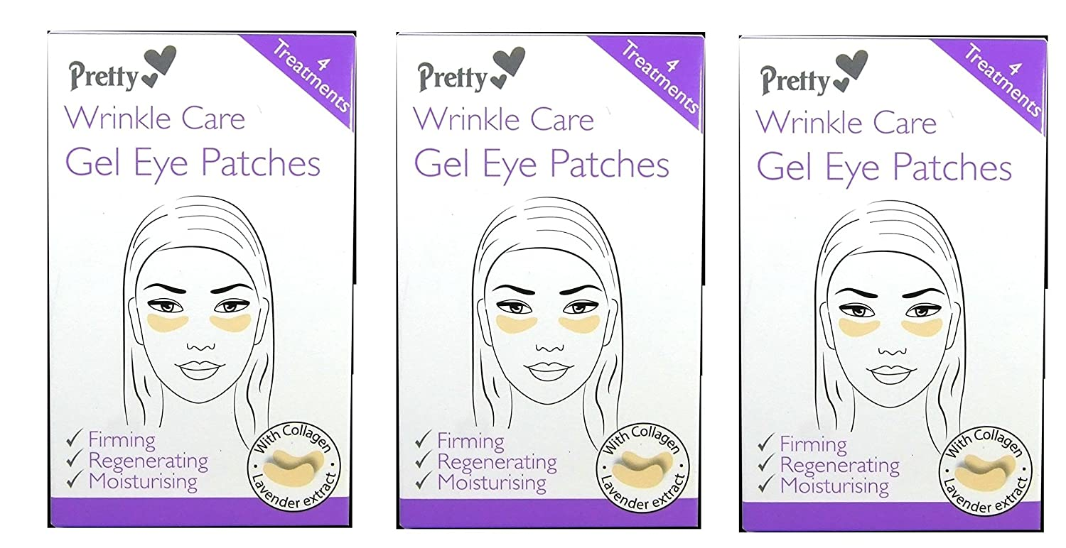 12 x Pretty Wrinkle Care Gel Eye Patches | 3 packs of 4 in each Quest Personal Care