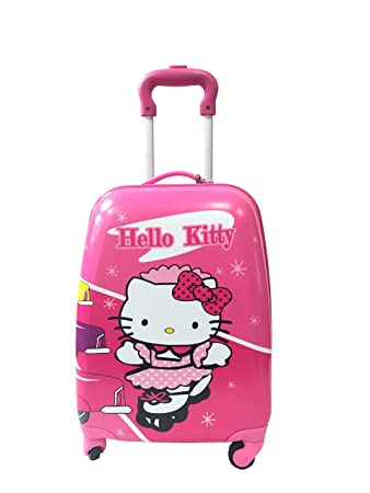 d80411fb08 Children Kids Holiday Travel Character Suitcase Luggage Trolley Bags  18 quot  Hello Kitty PINK