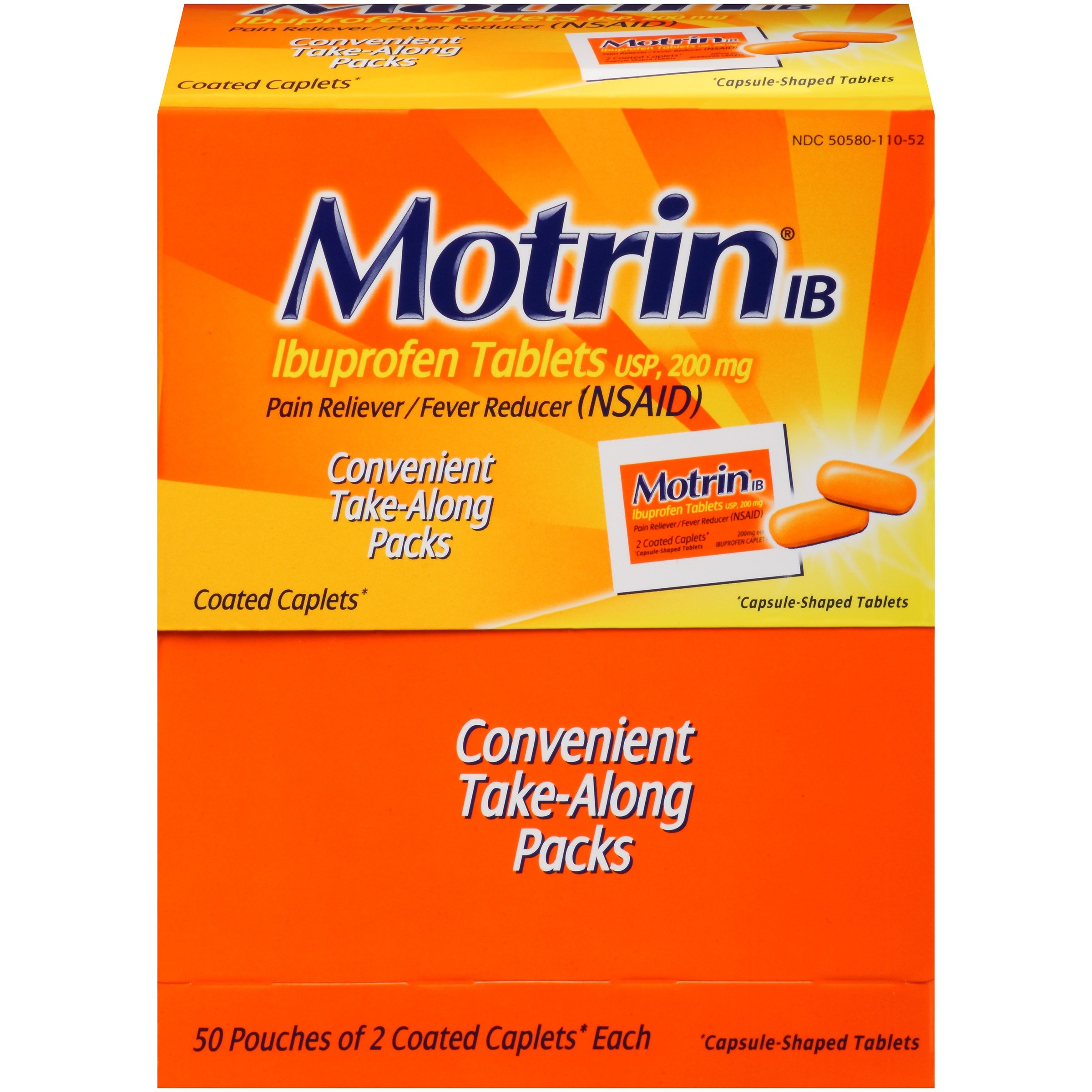 Motrin IB Caplets, Ibuprofen, Aches and Pain Relief, 50 Count, Pack of 2 by Motrin