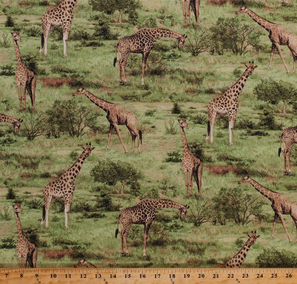 "Soft Brushed Cotton Joann Flowers Nature Giraffes 44/"" Wide Black//White//Grey"