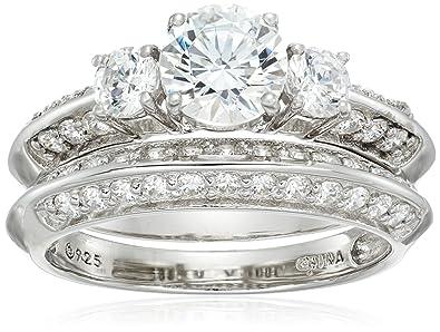 b38688d4a Amazon.com: Platinum-Plated Sterling Silver Swarovski Zirconia Ring ...