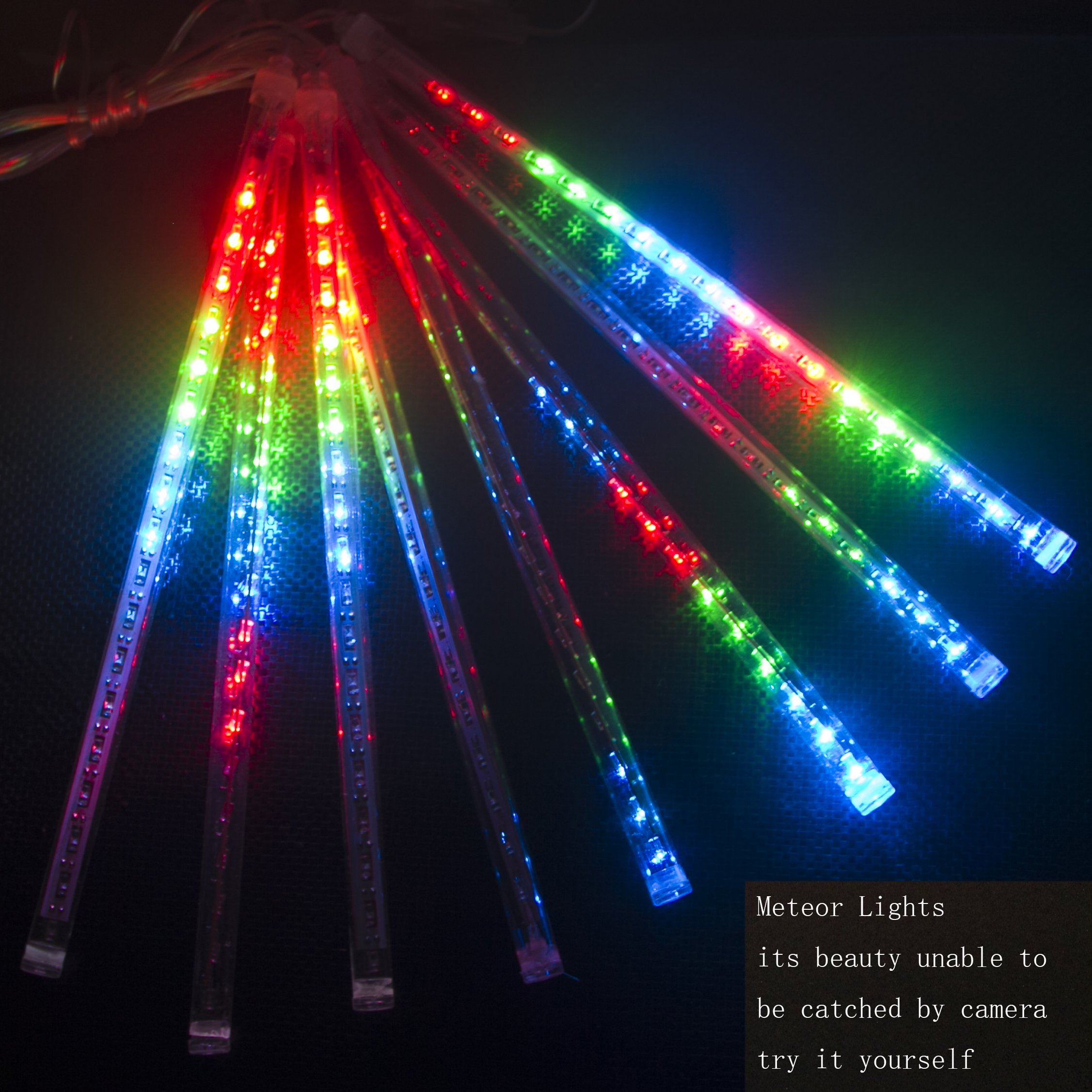 CDL 10sets Meteor Icicle Snow Falling Rain Drop 50cm 8 Tubes 240 LED Shower Christmas Raindrop Cascading Lights for Wedding Party Holiday Xmas Halloween Home Garden Tree Decoration (10, Multi-colors)