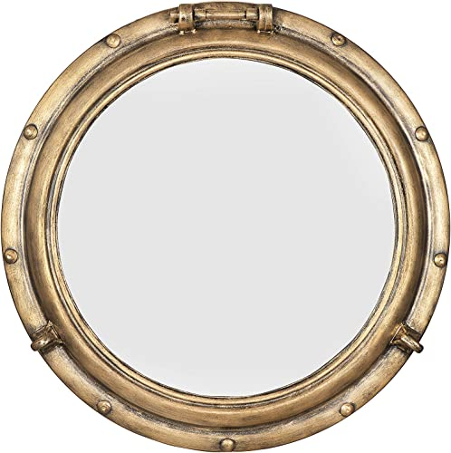 Creative Co-op Distressed Metal Port Hole Reflective Framed Mirrors, Gold