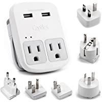 Ceptics World Travel Adapter Kit - 2 USB + 2 US Outlets, Surge Protection, Plug for Europe, UK, China, Australia, Japan - Perfect for Laptop, Cell Phones (Does Not Convert Voltage) (WPS-2B+)