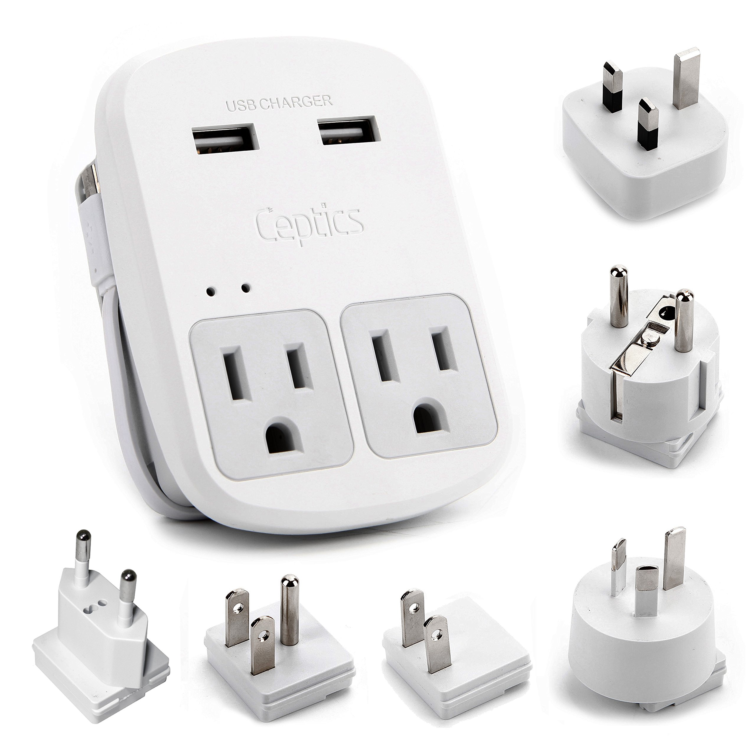 Ceptics World Travel Adapter Kit - 2 USB + 2 US Outlets, Surge Protection, Plug for Europe, UK, China, Australia, Japan - Perfect for Laptop, Cell Phones (Does Not Convert Voltage) (WPS-2B+) by Ceptics (Image #1)