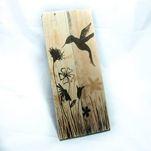 Vertical 20 x 7 Hummingbird art on Pallet wood – SAFE FOR OUTDOOR USE – Rustic garden signs – Gift for gardener – Hummingbird gifts