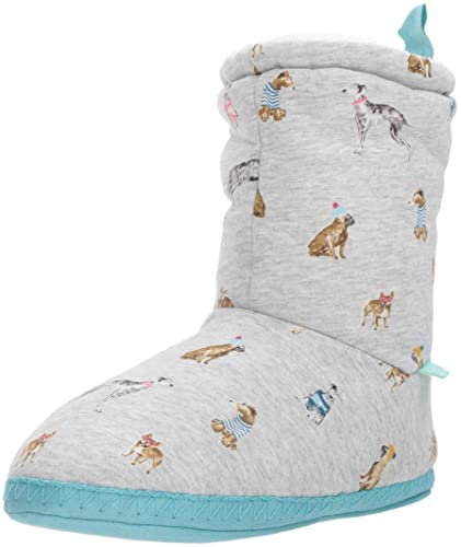 Joules Women s s Homestead Hi-Top Slippers Grey Marl Cosy Dogs 82b1acb775