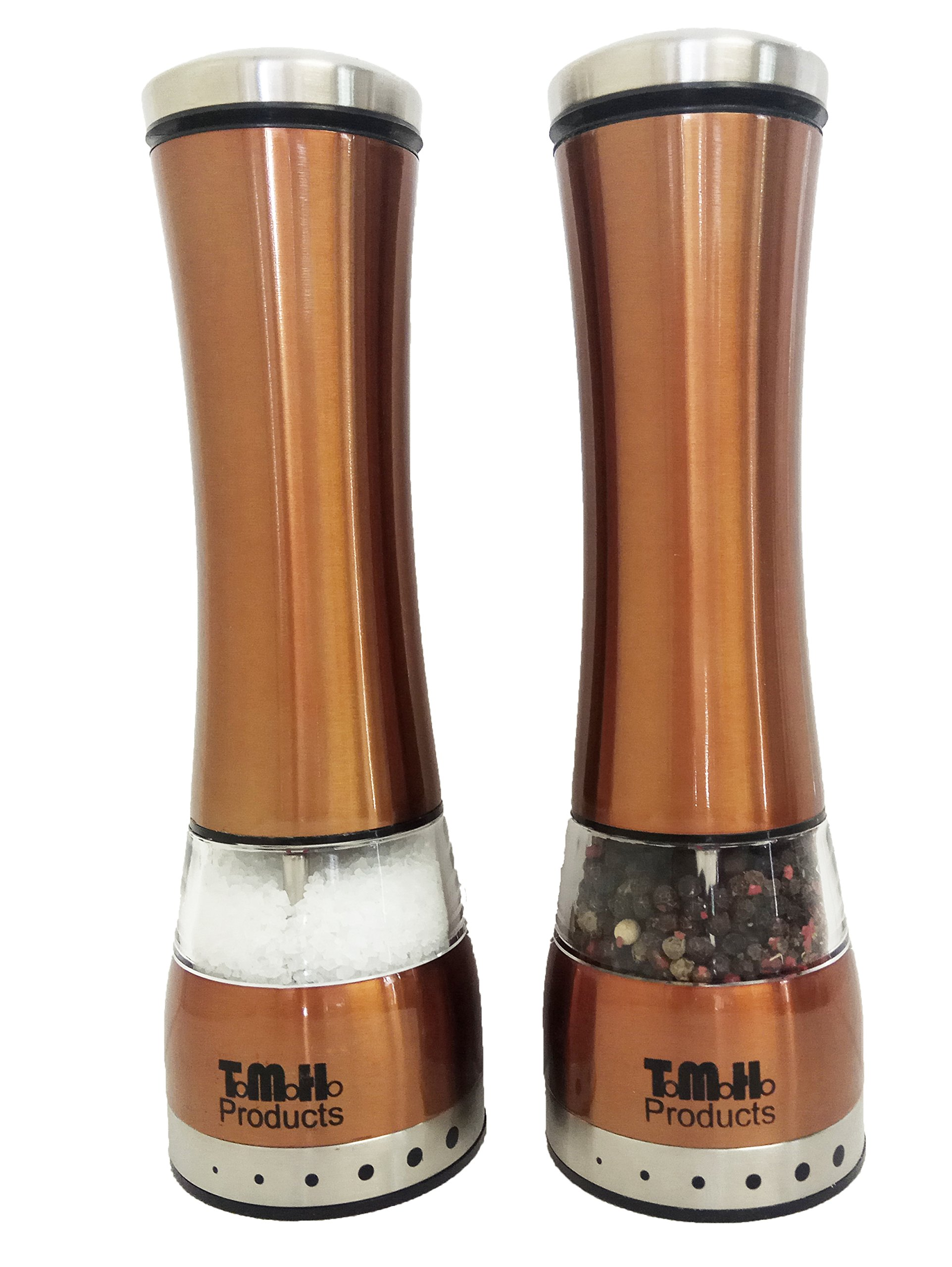 Electric Salt & Pepper Grinder Set by T.M.H. Products | Adjustable Grinder Mills, Simple to Use with Strong & Durable Mechanism | Polished Stainless-Steel | Brushed Copper Color and Built-In LED Light